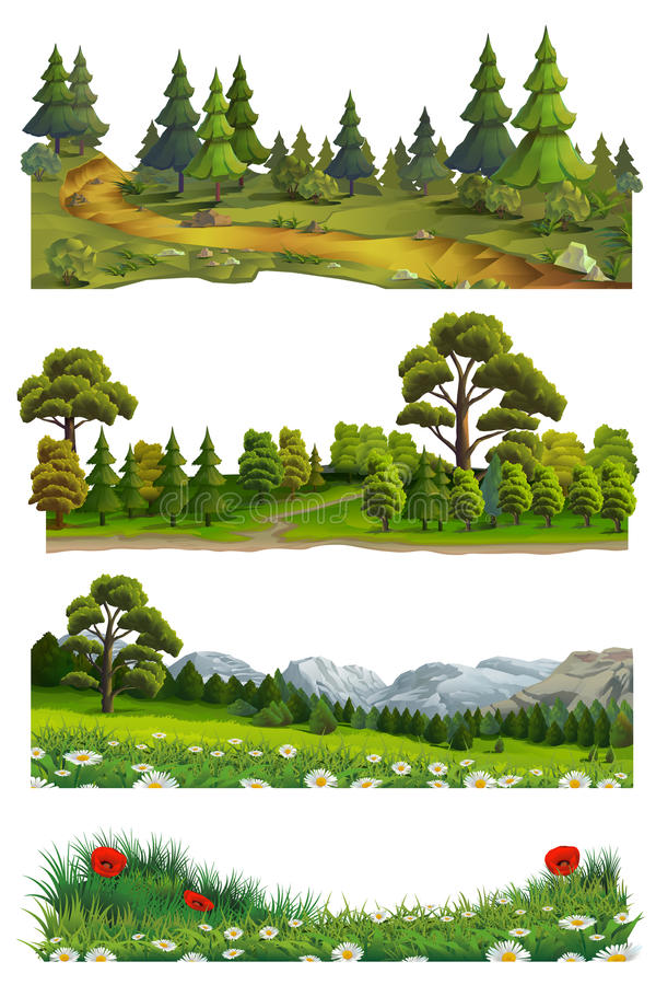 Naturlandskap, vektoruppsättning vektor illustrationer