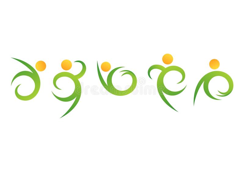 Naturleute Wellnesslogo, natürliches Symbol der Eignung, Gesundheitsikonen-Bühnenbildvektor des menschlichen Körpers lizenzfreie abbildung