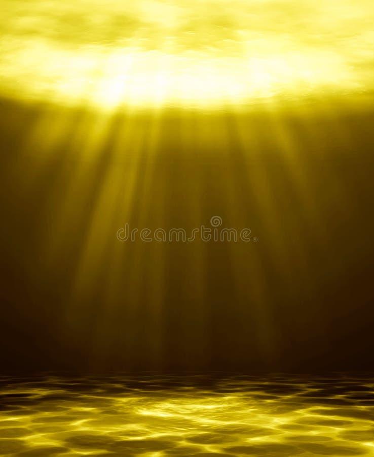 Naturlig bakgrund för djupt guld- vattenabstrakt begrepp stock illustrationer