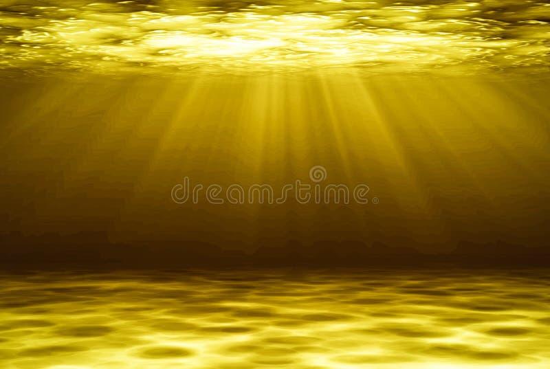 Naturlig bakgrund för guld- abstrakt begrepp för djupt vatten vektor illustrationer