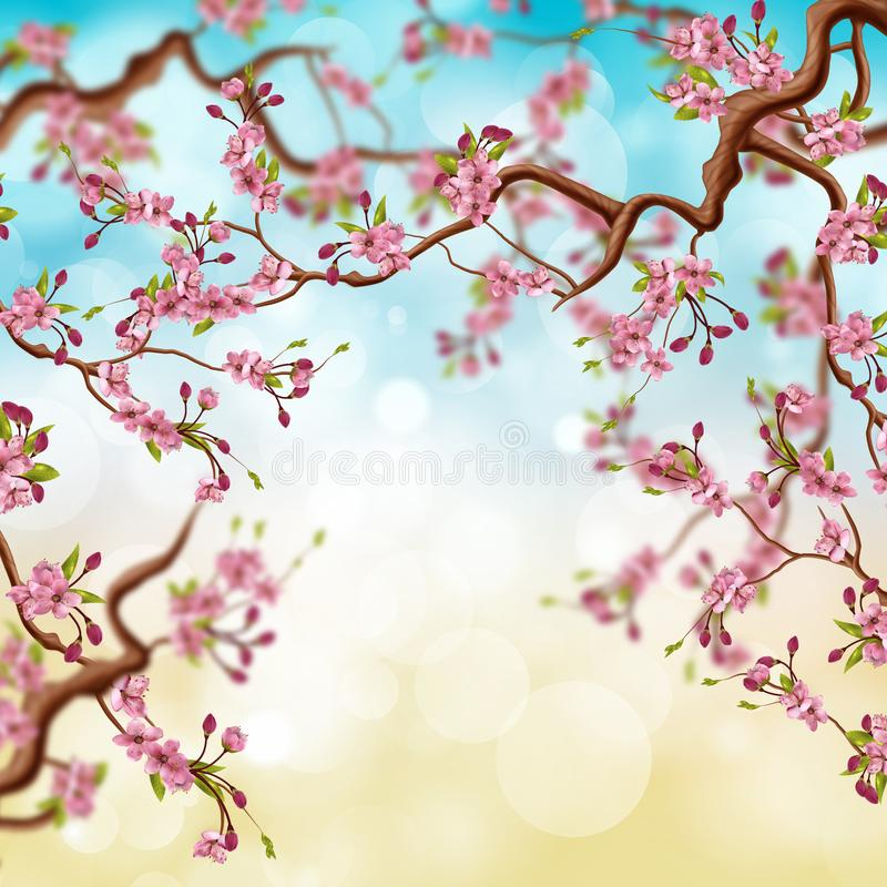 Naturlig bakgrund för härligt träd för körsbärsröd blomning vektor illustrationer