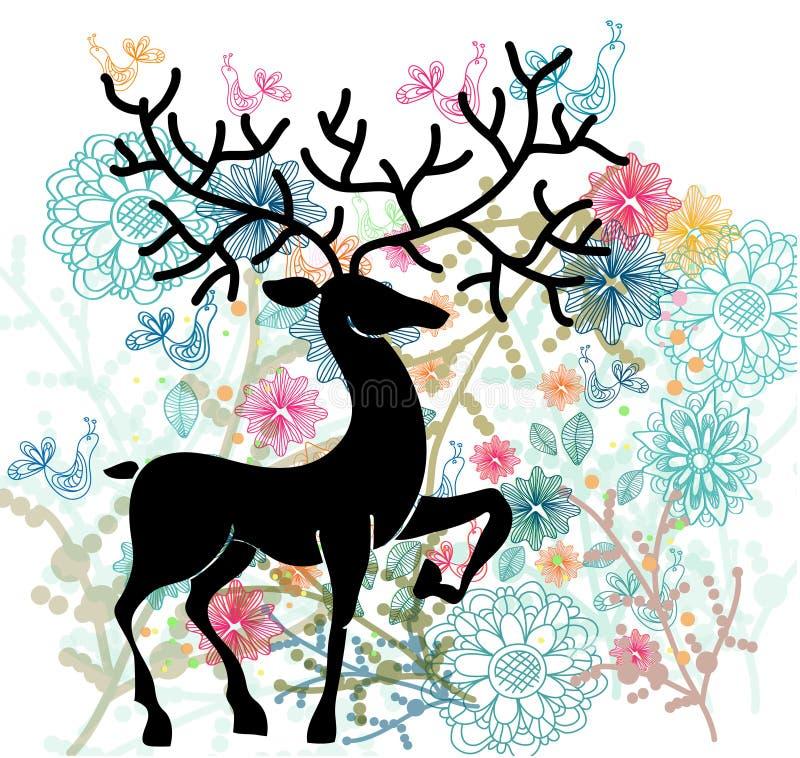 Naturlig bakgrund med hjortar, blommor och fågeln stock illustrationer