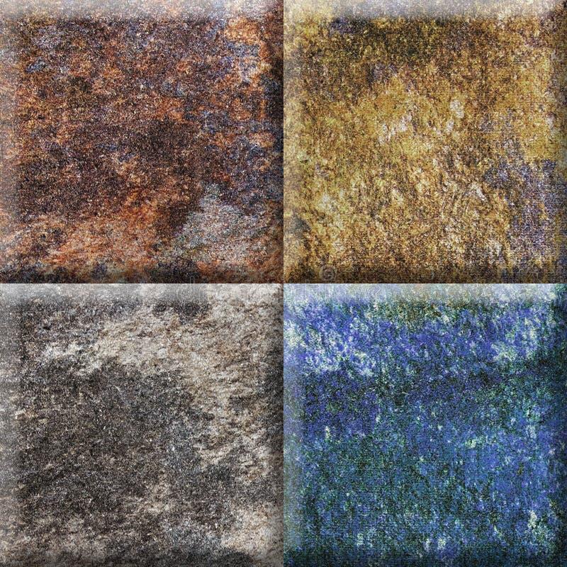 Naturlig beige design för färgmandalafyrkant för keramiska tegelplattor, lantlig mandalafyrkant arkivbilder
