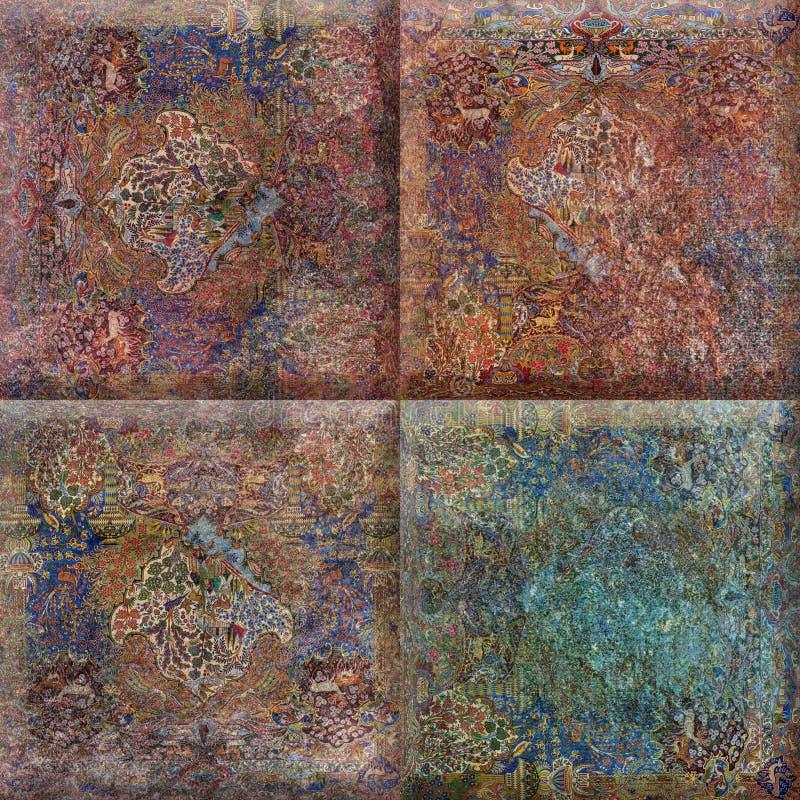 Naturlig beige design för färgmandalafyrkant för keramiska tegelplattor, lantlig mandalafyrkant royaltyfri fotografi