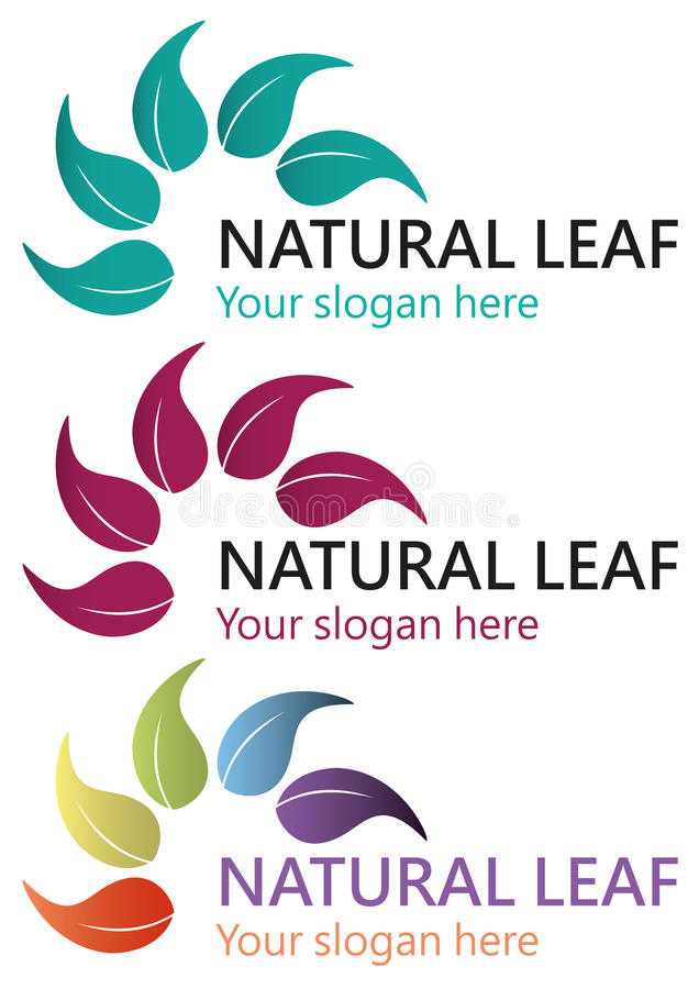 Naturlig bladlogo stock illustrationer