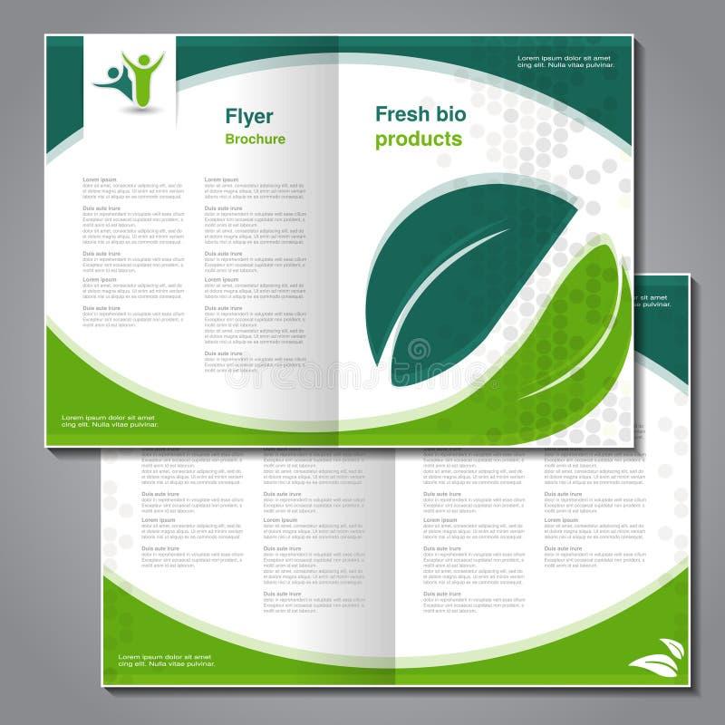 Naturlig broschyr, design av naturen, bio reklamblad med enkel prickig design Orienteringsmall med bladet Aspektförhållande för f stock illustrationer