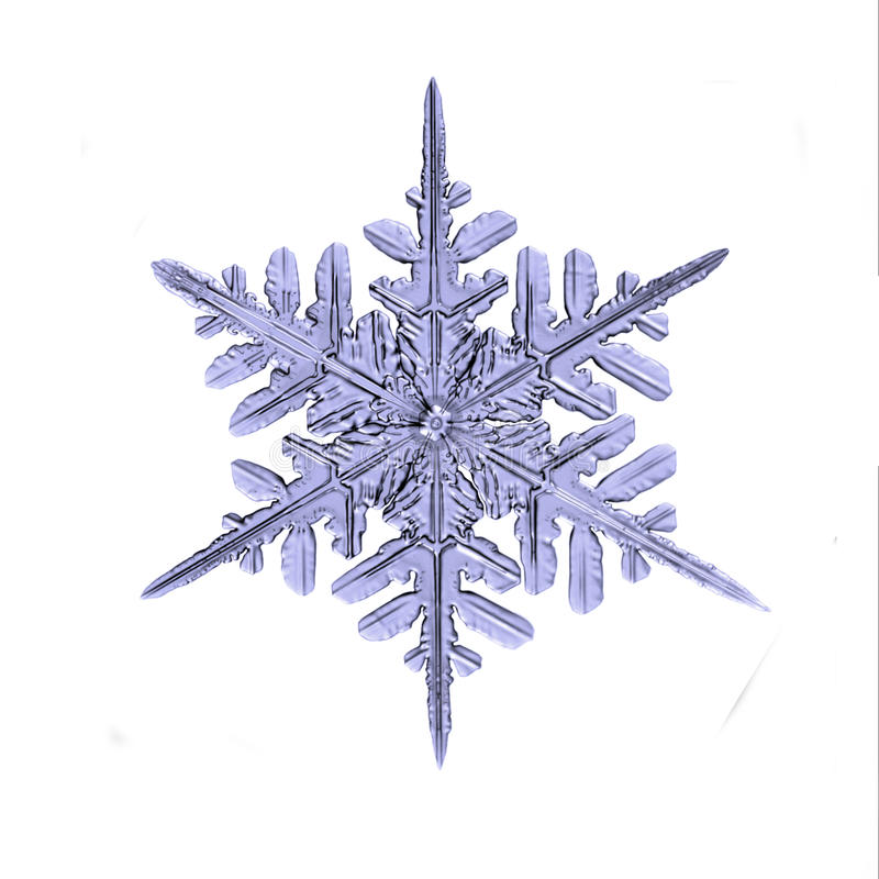 Naturlig closeup för snöflingadetaljmakro som isoleras på vit bakgrund arkivfoto