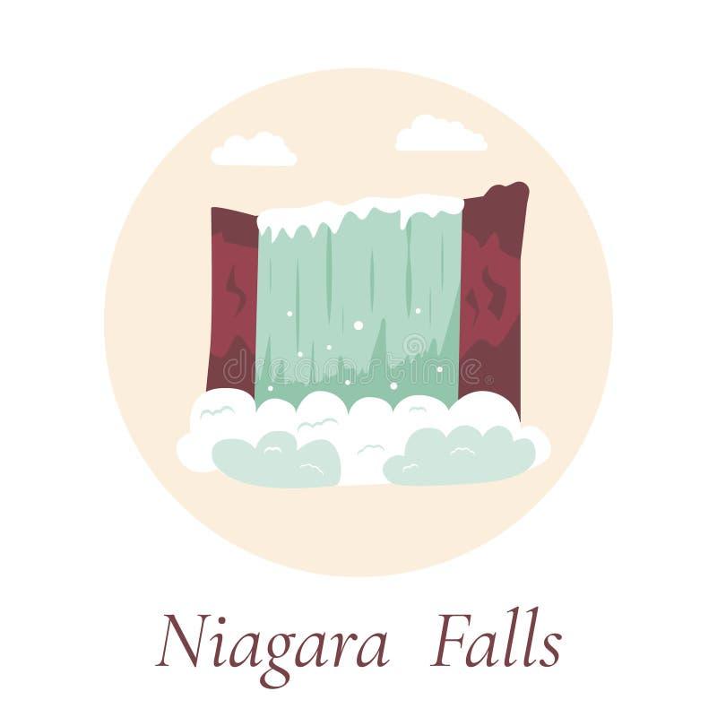 Naturlig gränsmärke av Kanada och USA Niagara Falls royaltyfri illustrationer