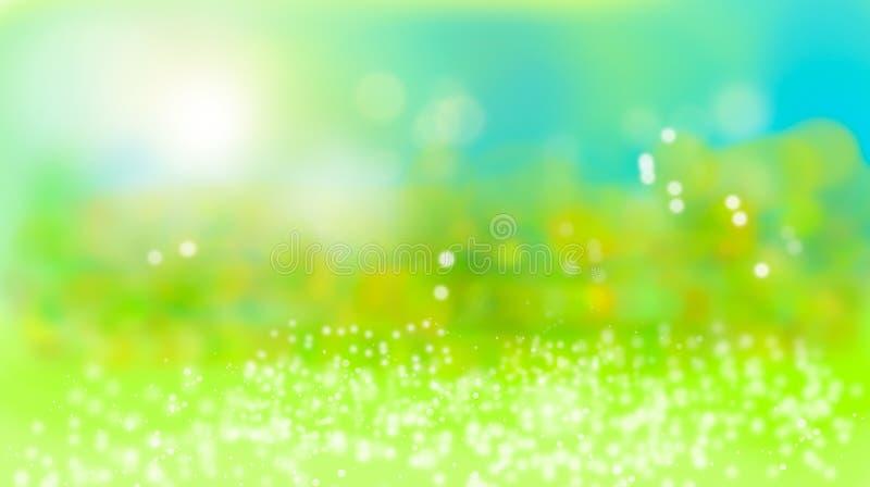 Naturlig grön sommarbokehbakgrund royaltyfri illustrationer
