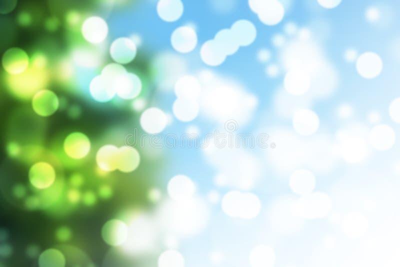 Naturlig grön suddig bokehbakgrund stock illustrationer