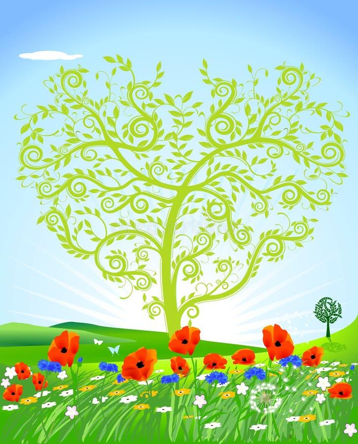 naturlig hjärta royaltyfri illustrationer