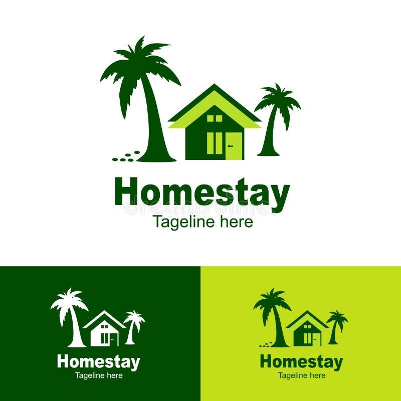 Naturlig Homestaylogo, stranduppehåll, enkel bakgrund för logosymbolshomestay - vektor royaltyfri illustrationer