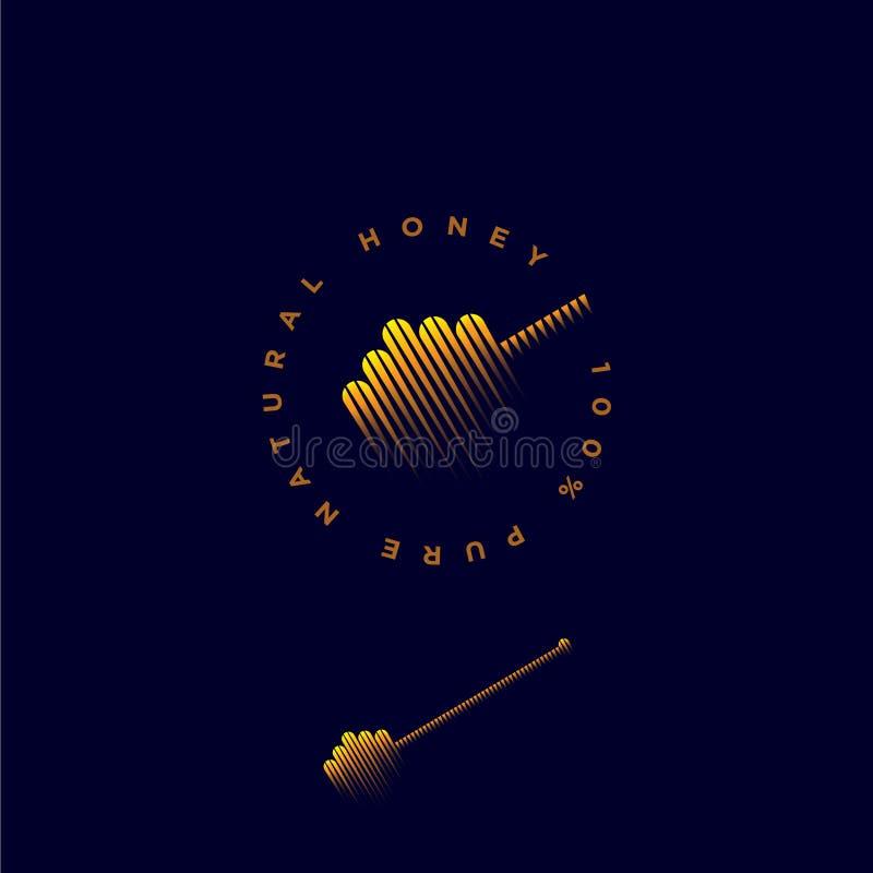 Naturlig honunglogo Honungskopasymbol Honungskopasymbol och bokstäver på en cirkel stock illustrationer