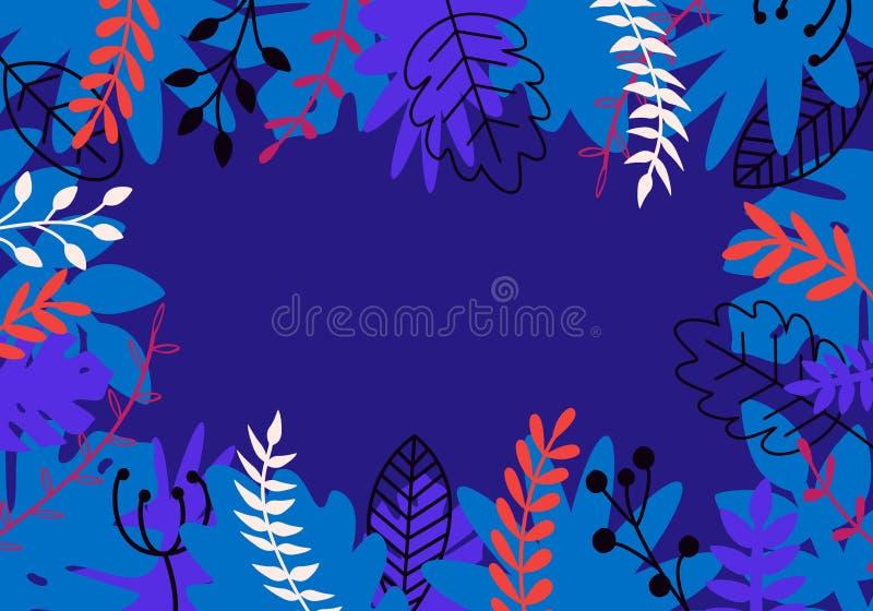 Naturlig horisontalbakgrund för vektor i moderiktig plan stil med mångfärgade exotiska växter, sidor och stället för text stock illustrationer