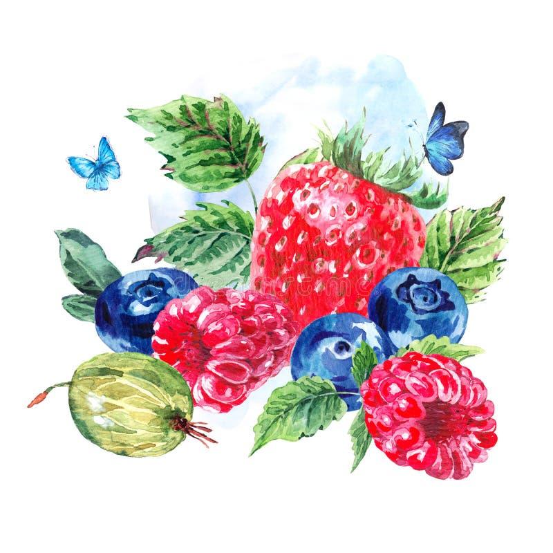 Naturlig illustration för vattenfärgecomat stock illustrationer