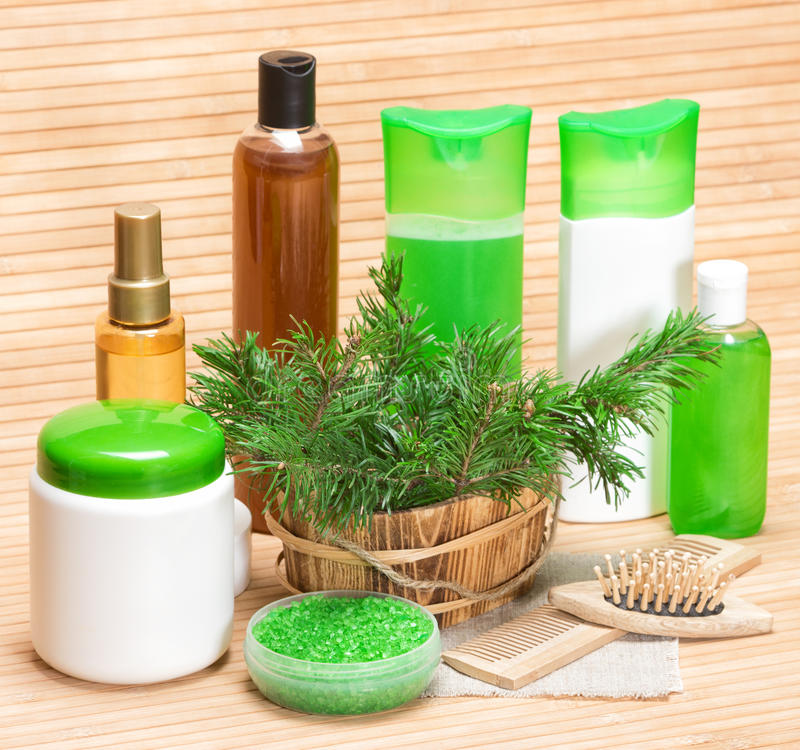 Naturlig kosmetisk produkter och tillbehör för håromsorg arkivbild