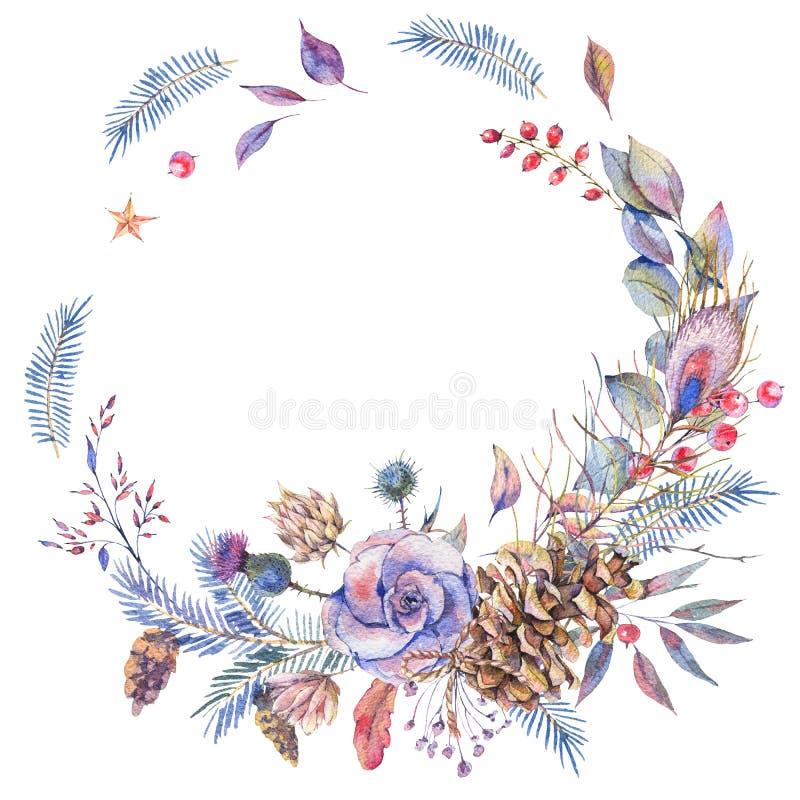 Naturlig krans för vattenfärgvinter med rosor royaltyfri illustrationer