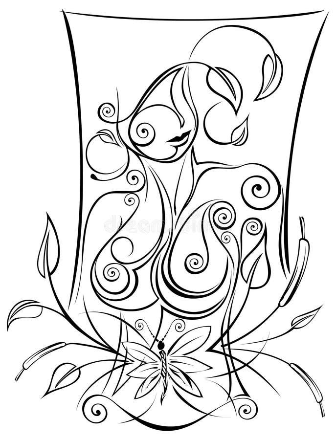 naturlig kvinna för abstrakt teckningsmiljö royaltyfri illustrationer