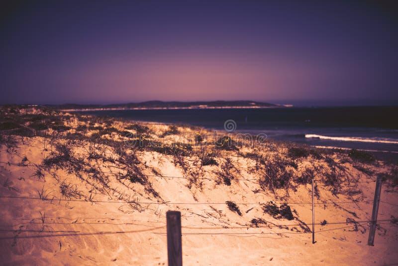 Naturlig landskapbakgrund Sandsikt Kustdyn sätter på land havssikt royaltyfria foton