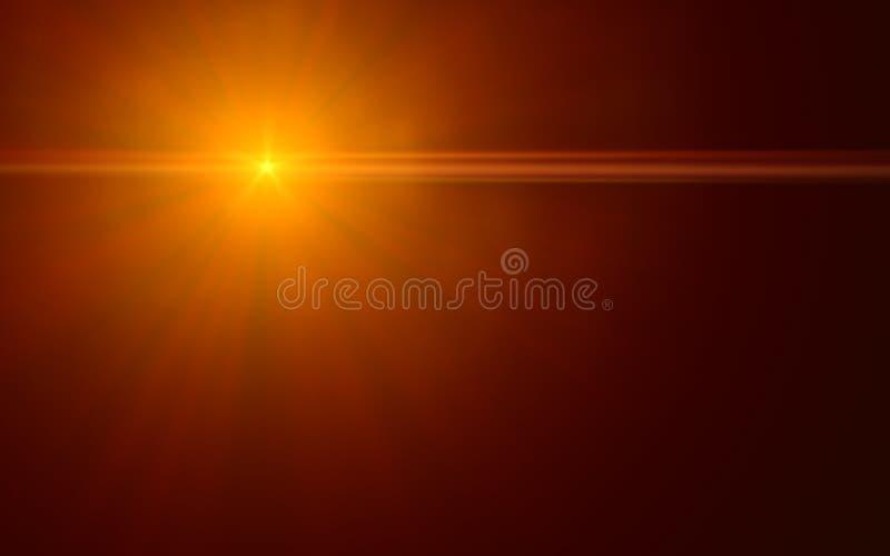 Naturlig linssignalljus Lens signalljusljus över svart royaltyfri illustrationer
