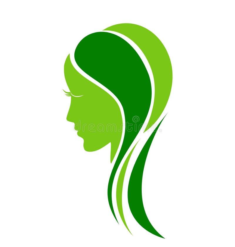 Naturlig logo för framsidamodekvinna royaltyfri illustrationer