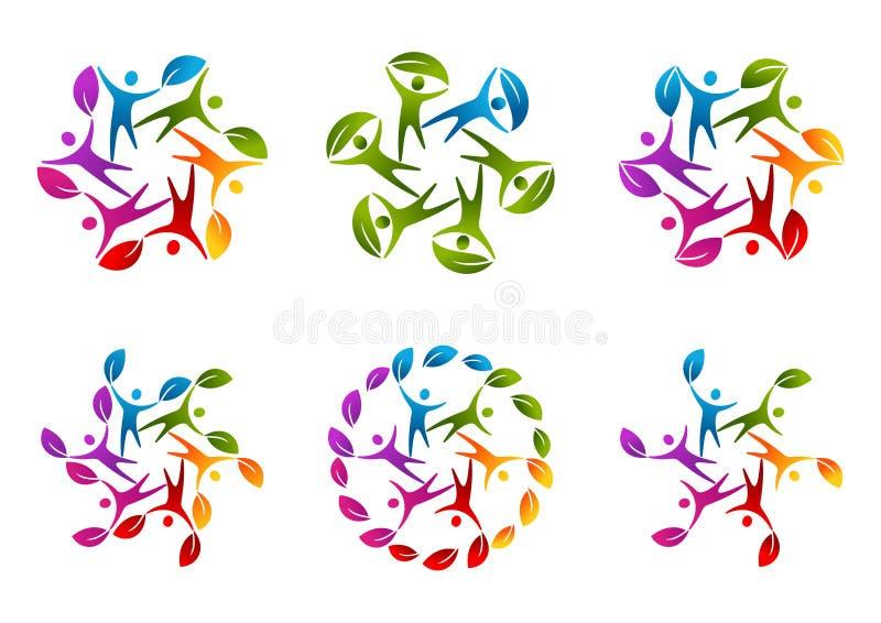 Naturlig logo för lagarbete stock illustrationer