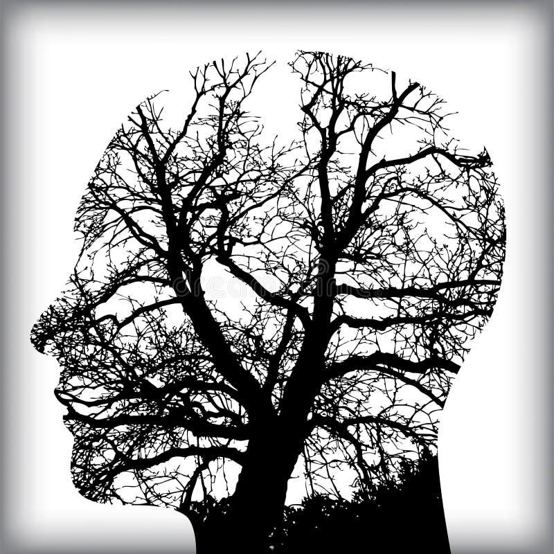 Naturlig man i trädet för stock illustrationer