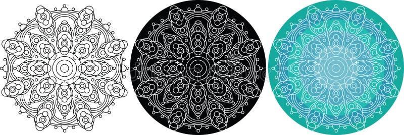 Naturlig mandala av cirklar för färgläggningbok mönstrad runt royaltyfri illustrationer