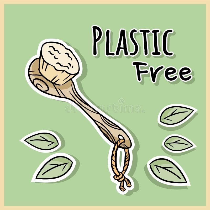 Naturlig materiell duschborste Ekologisk och noll-avfalls produkt Gr?nt hus och plast--fri uppeh?lle royaltyfri illustrationer