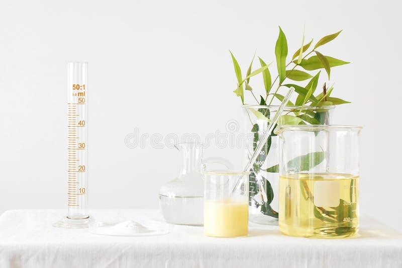 Naturlig medicin, utrustning och vetenskapsexperiment som formulerar kemikalien för medicin royaltyfria foton