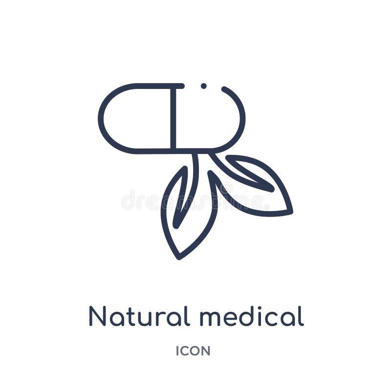 Naturlig medicinsk pillersymbol från naturöversiktssamling Tunn linje naturlig medicinsk pillersymbol som isoleras på vit bakgrun stock illustrationer