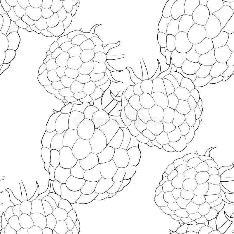 Naturlig mogen sommar för sömlöst modellhallonbär Vektor dåligt royaltyfri illustrationer