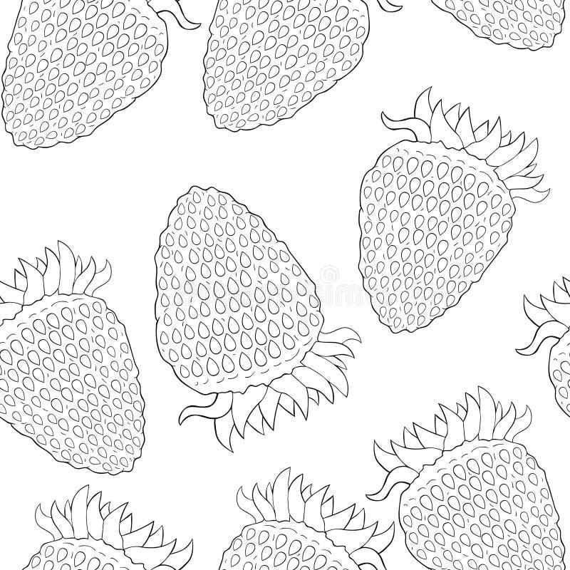 Naturlig mogen sommar för sömlöst modelljordgubbebär Vektor il stock illustrationer