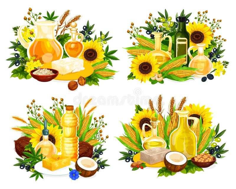 Naturlig olja och havre, oliv, solros och canola vektor illustrationer