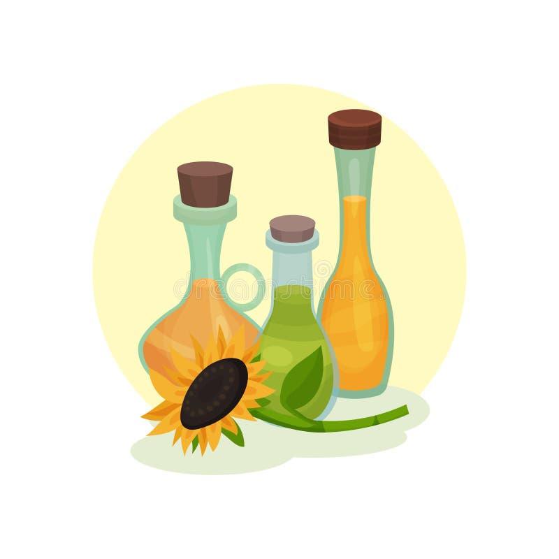 Naturlig rapsfrö, solros och olivolja Glasflaskor med flytande sockrar nuts kryddor för kanelbruna ingredienser för matlagningägg vektor illustrationer