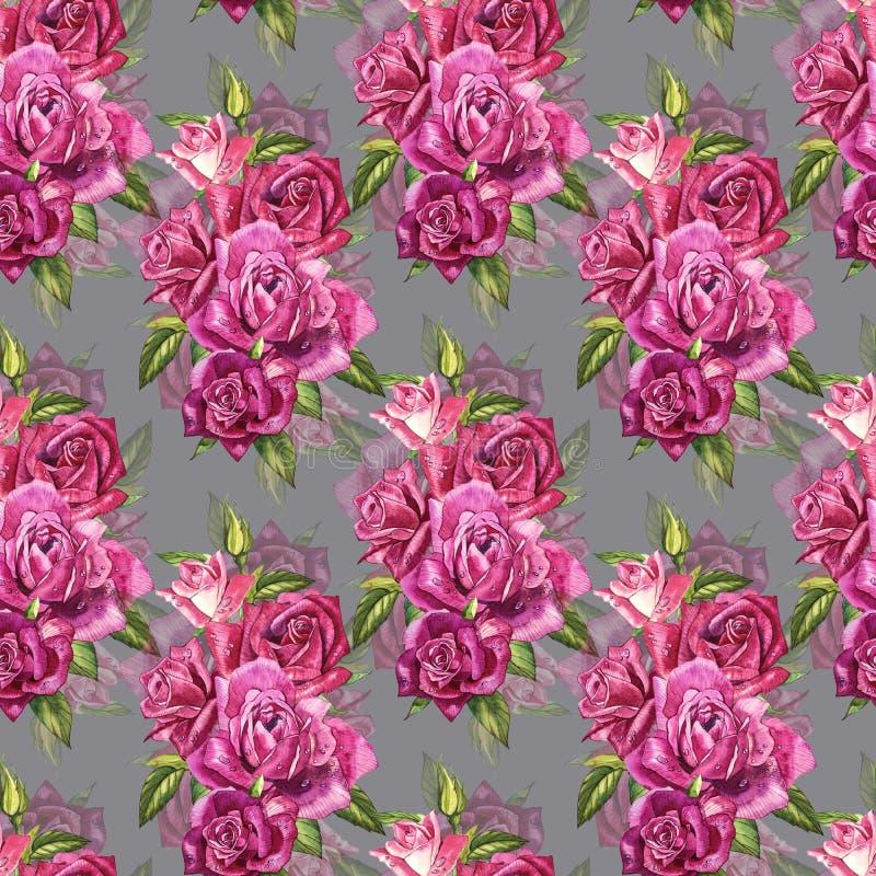 Naturlig rosa rosbakgrund Sömlös modell av röda och rosa rosor, vattenfärgillustration vektor illustrationer