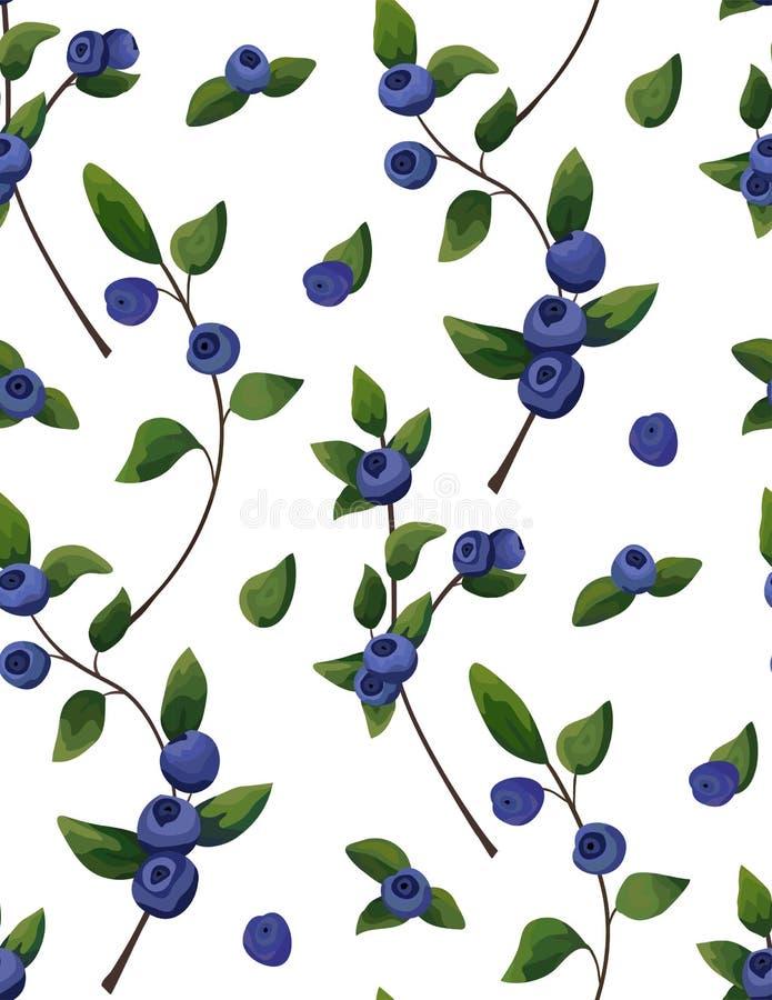 Naturlig sömlös modell för vektor av blåbärfilialen, skogfrui vektor illustrationer