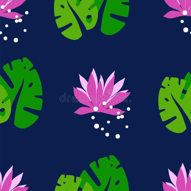 Naturlig sömlös modell med tropiska sidor och lotusblommor på en mörk bakgrund Prydnad för textil och inpackning royaltyfri illustrationer