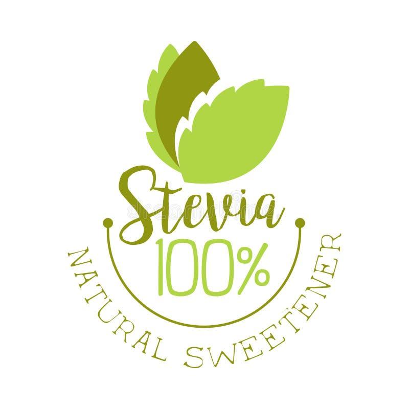 Naturlig sötningsmedellogo för Stevia Sund illustration för produktetikettvektor vektor illustrationer