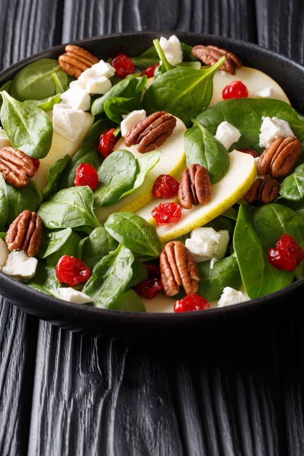 Naturlig sallad med nya päron, gröna spenat, pecannötter, fetaost och torkad körsbärnärbild på en platta vertikalt royaltyfri bild