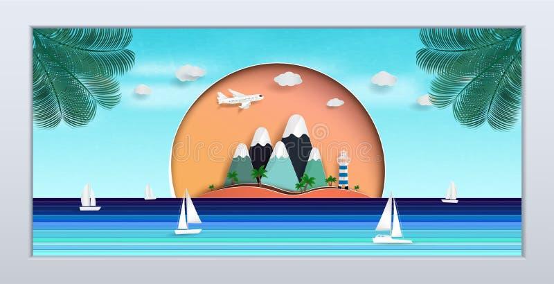 Naturlig seascape i bildramen designen äger rum under sommaren royaltyfri illustrationer