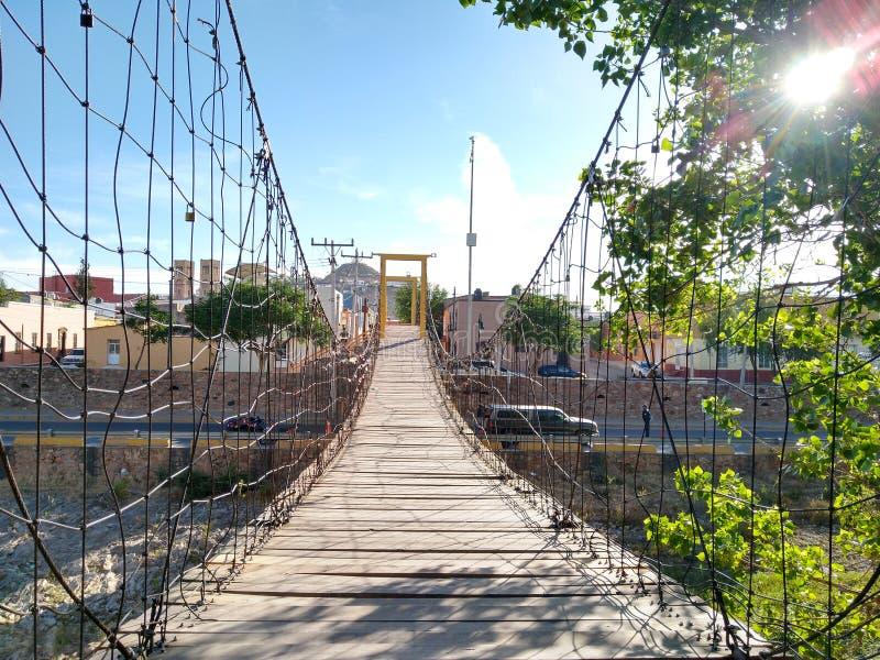 Naturlig sikt för upphängningbro på en vanlig dag royaltyfri fotografi