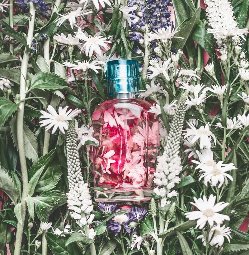 Naturlig skönhetsmedelglasflaska med rosa flytande: uppiggningsmedel, makeupfixandemist eller doft på växt- sidor och lösa blommo arkivfoto