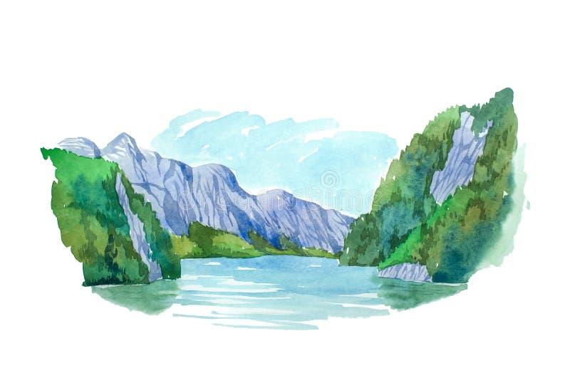 Naturlig sommarlandskapberg och sjövattenfärgillustration stock illustrationer