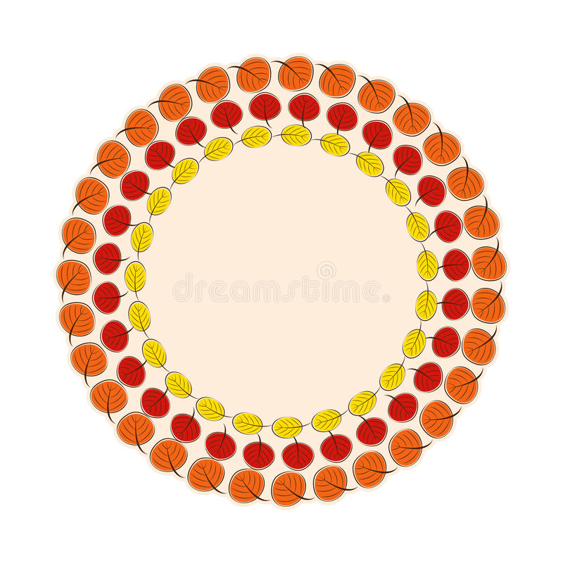 Naturlig Sunny Autumn Leaves Frame Background Vector illustration stock illustrationer