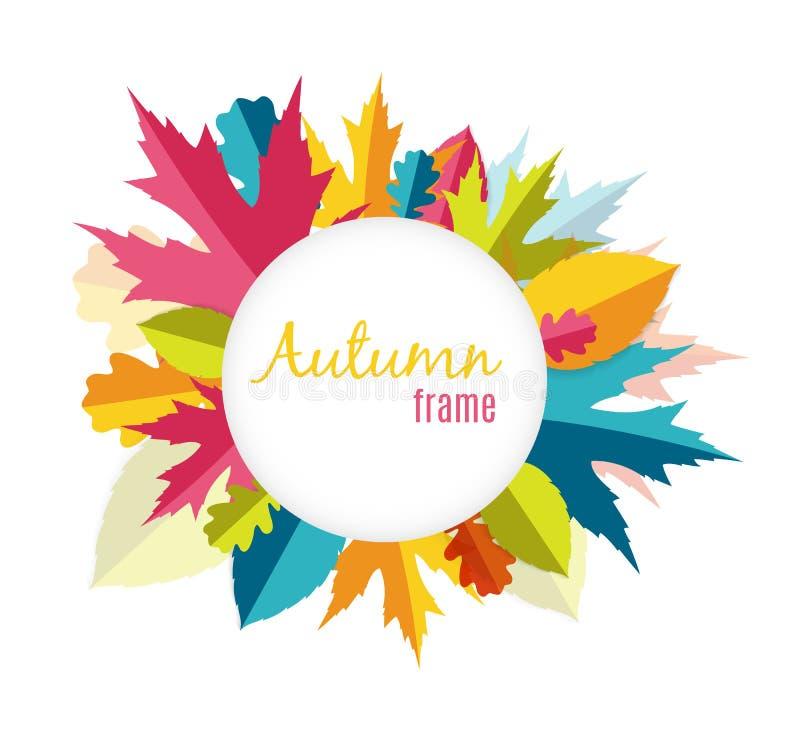 Naturlig Sunny Autumn Leaves Frame Background Vector illustration vektor illustrationer