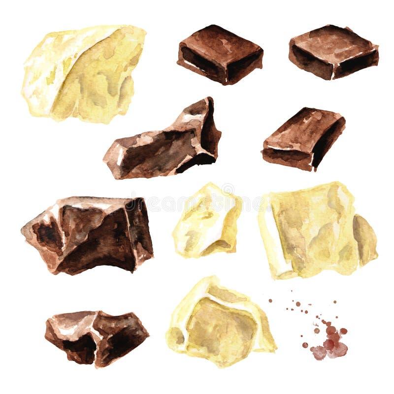 Naturlig svartvit chokladstyckuppsättning Superfood Dragen illustration för vattenfärg som hand isoleras på vit bakgrund stock illustrationer