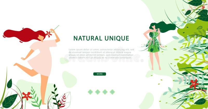 Naturlig unik livsstil för horisontalplant baner royaltyfri illustrationer