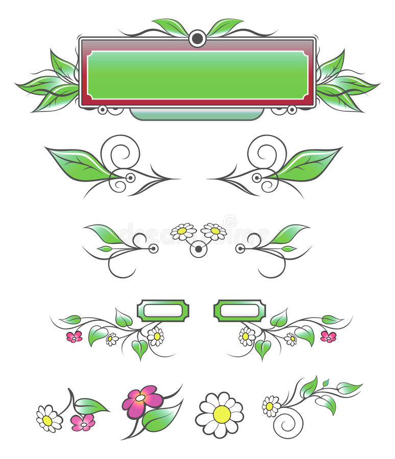 naturliga dekorativa element stock illustrationer