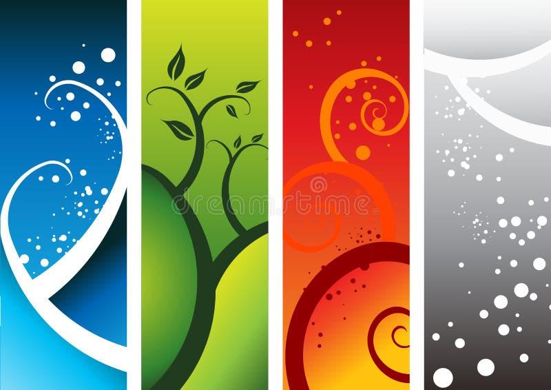 naturliga element fyra stock illustrationer